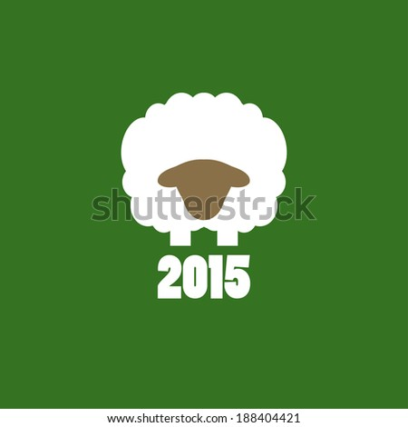 Happy New Year Sheep 2015 design card vector - stock vector