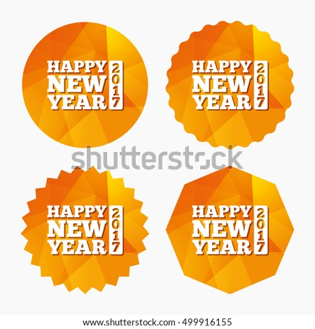 Happy new year 2017 sign icon. Christmas symbol. Triangular low poly buttons with flat icon. Vector