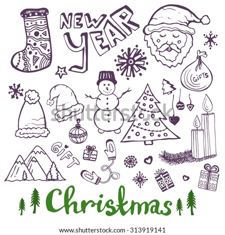 Happy New Year sketch doodle set. Christmas lettering. Cute santa claus, tree, gift, mittens, candle, snowman, socks and other signs - stock vector