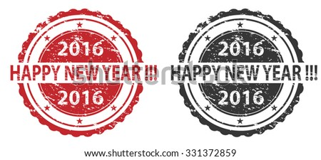 Happy New Year Stamps - stock vector