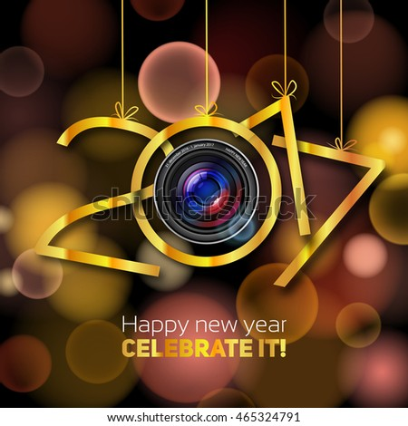 Happy New Year, 2017, steel with silver, golf and bronze color, lens optics Happy new year illustration, blurred or bokeh gold background