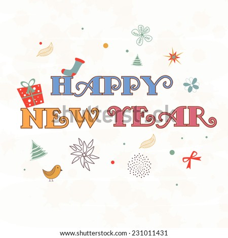 Happy New Year stylish text on Christmas ornament decorated beige background. - stock vector