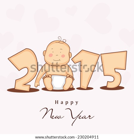 Happy New Year 2015 stylish text with cute little baby on heart shape decorated beige background. - stock vector
