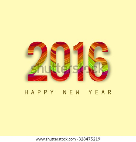 Happy New Year stylish 2016 texture colorful background - stock vector