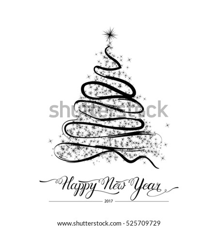 Happy new year stylized decorative handdrawn doodle black fir tree on white background. Winter holiday greeting card. Vector Illustration. Black tree isolated on white