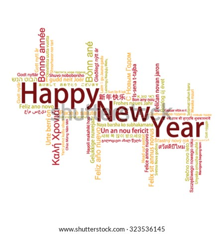Happy New Year Tag Cloud, vector - stock vector
