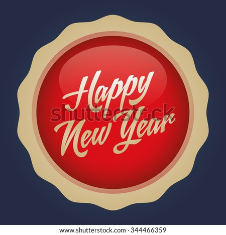 Happy new year text badge. Vector illustration. Red-Gold Badge - Navy background.