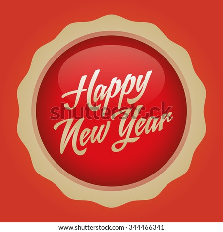 Happy new year text badge. Vector illustration. Red-Gold Badge - Orange background.