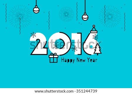 Happy New Year 2016. Text Design. Flat Vector Illustration. - stock vector