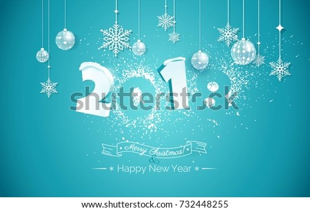 Happy new year 2018 text design. 2018 snow numbers illustration. Happy holidays banner with snowflakes and christmas decorations on blue sparkling background. Greeting card. Vector illustration.