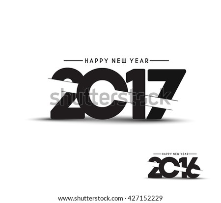 Happy new year 2017 Text Design vector - stock vector