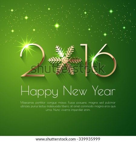 Happy New Year 2016 text design. Vector greeting illustration with golden numbers - stock vector