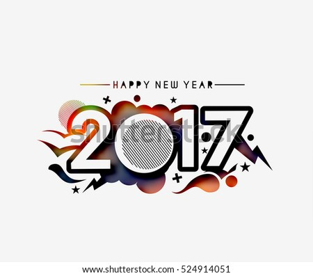 Happy new year 2016-2017 Text Design vector illustration