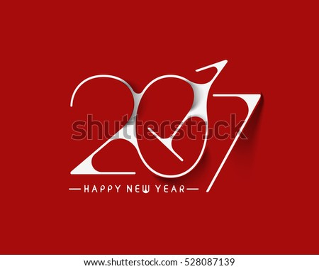 Happy new year 2017 Text Design vector illustration