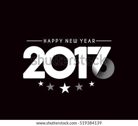Happy new year 2017 Text Design vector set