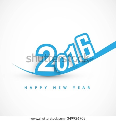 Happy new year 2016 text in color blue - stock vector