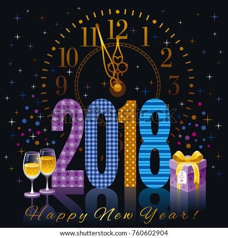 Happy New Year 2018 Text Logo Stock Vector 760602904 Shutterstock