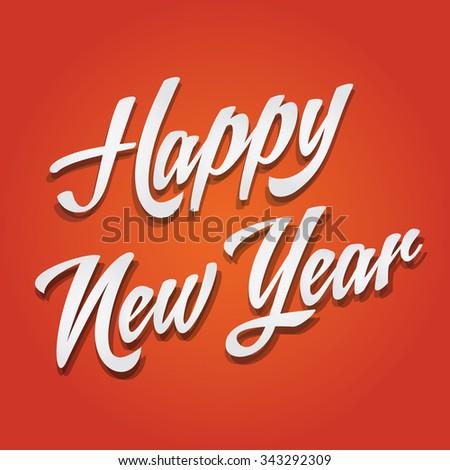 Happy New Year, Typographic Celebration, Orange Background - stock vector