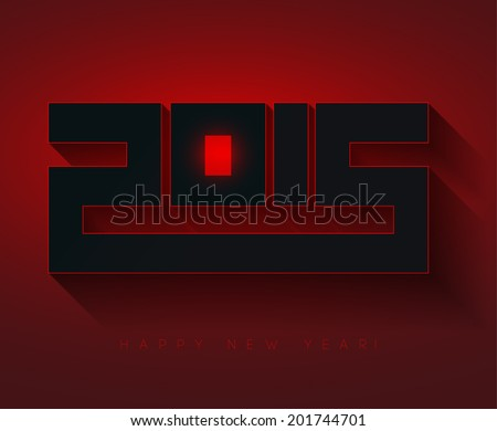 Happy new year 2015, typographic 3d illustration, calendar cover - stock vector