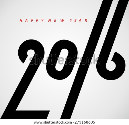 Happy new year 2016, typographic illustration - stock vector