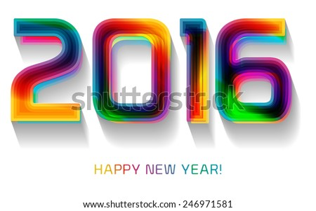 Happy new year 2016, typographic illustration. Calendar cover design. - stock vector