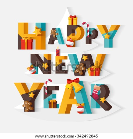 Happy New Year typographic poster. - stock vector