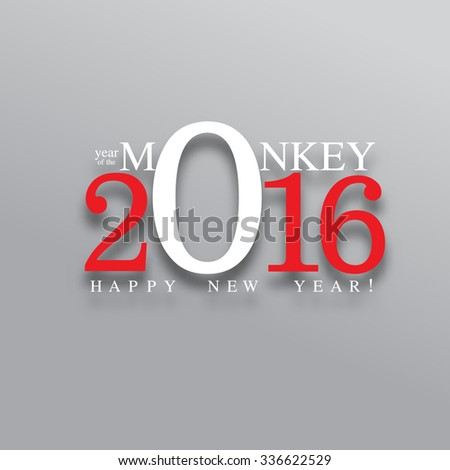 happy new year, 2016 typography background design, year of the monkey - stock vector
