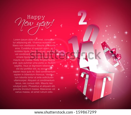 Happy New Year 2014 - vector background with open gift box  - stock vector