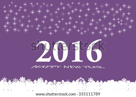 Happy new year vector card with the white numbers 2016 and bevelled inscription  Happy New Year on the trendy purple background. Larger quantities of stars are in the upper part of the vector.  - stock vector