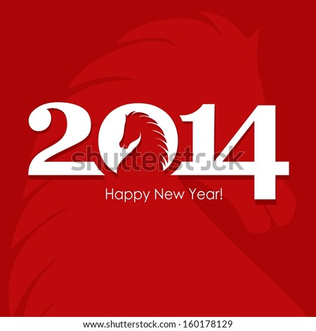 Happy New Year 2014 vector celebration concept with Chinese symbol of the horse - stock vector