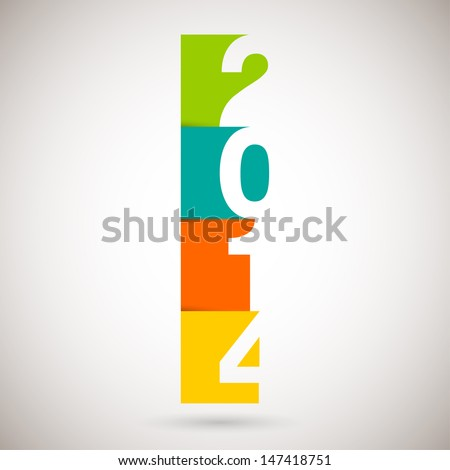 Happy new Year 2014, vector illustration. - stock vector