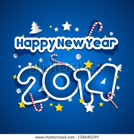 Happy New Year 2014 vector illustration - stock vector