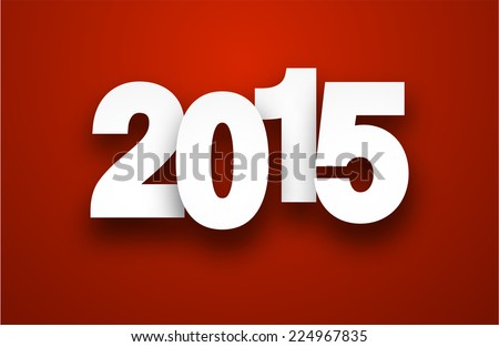 Happy 2015 new year. Vector paper illustration.   - stock vector