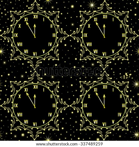 Happy New Year vector seamless pattern with golden clock showing five minutes to midnight - stock vector