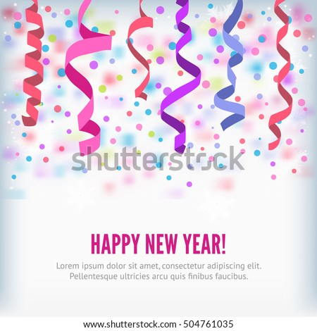 Happy New Year vector streamers and confetti background. Streamers or curved swirl paper ribbon. Festive streamers celebration background. Streamers and confetti of party popper for web banner