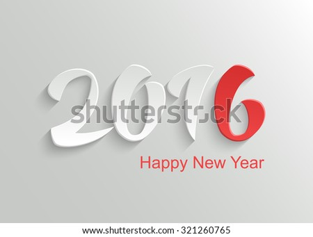 Happy New Year 2016 Vector Template Background with Hand Lettering 3D Text - stock vector