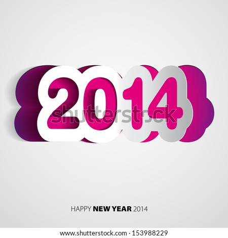 Happy New Year 2014 velvet vector card - stock vector