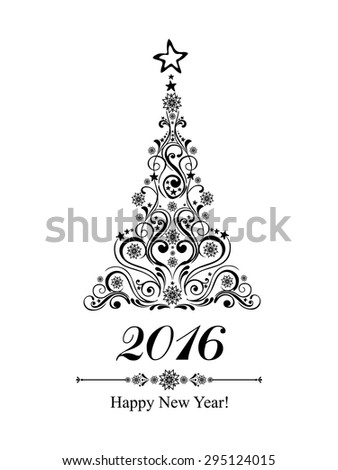 Happy new year 2016! Vintage card. Celebration background with Christmas tree and place for your text. Vector Illustration  - stock vector