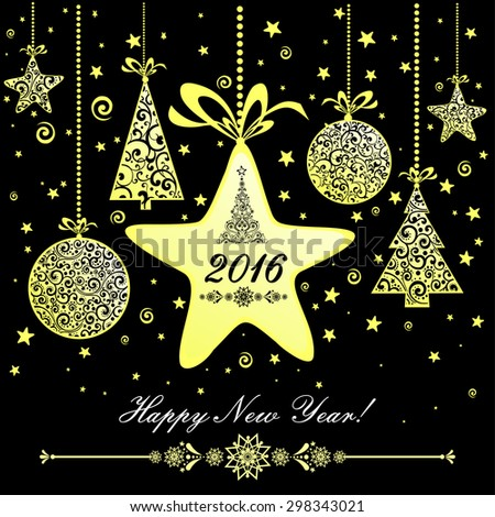Happy new year 2016! Vintage card. Celebration black background with golden Christmas tree, golden Christmas star, golden Christmas ball and place for your text. Vector Illustration - stock vector