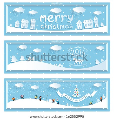 Happy new year winter holiday retro vector banners with cartoons 3D on blue background. eps10 - stock vector