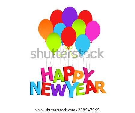 Happy New year with balloons isolated  - stock vector