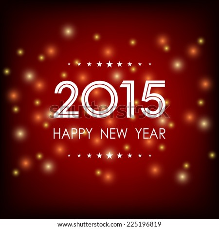 happy new year 2015 with glitter on dark red background (vector) - stock vector