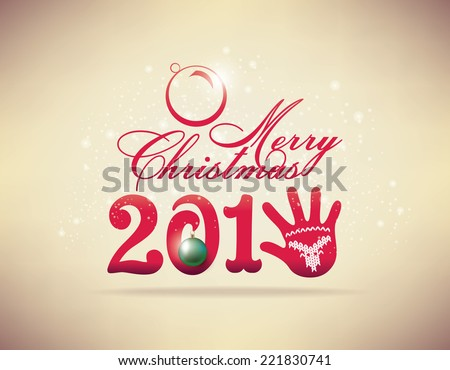 Happy new year 2015 with glove. Text Design - stock vector