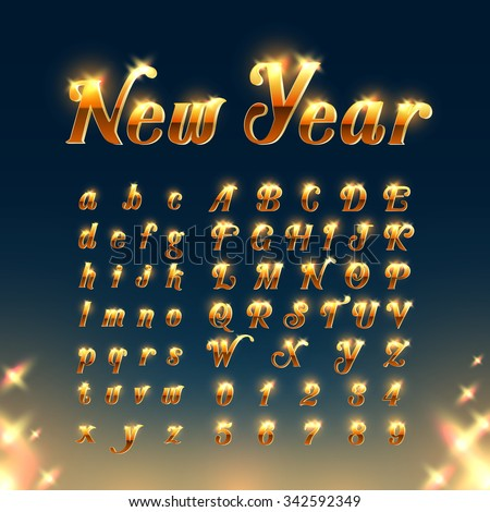 Happy New Year with Golden Letters and Numbers - stock vector
