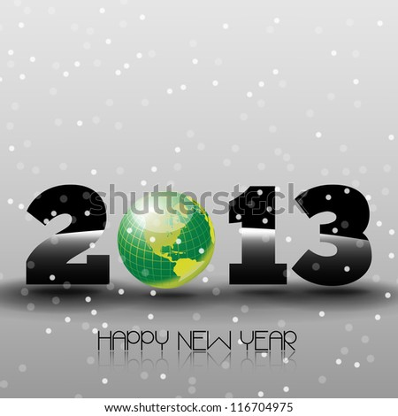 Happy New Year 2013 with Green World Happy new year's eve with snow and green world sphere - stock vector