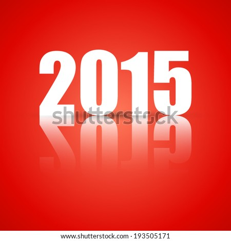 happy new year 2015 with shadow on red background (vector)