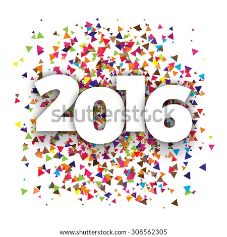 Happy 2016 new year with triangle. Vector paper illustration - stock vector