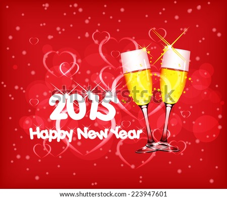 Happy new year 2015 with wine - stock vector