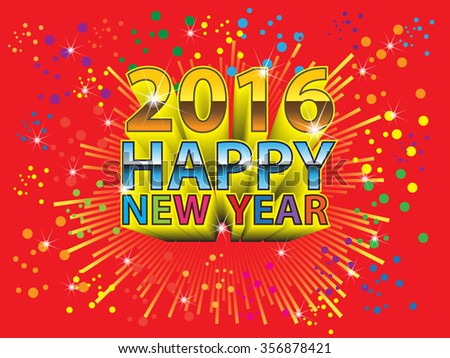 Happy New Year with 2016 zoom colors on red background vector illustration.