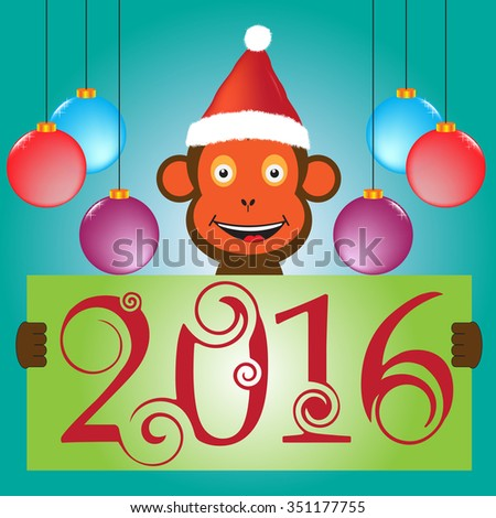 Happy new 2016 year. Year of the monkey.